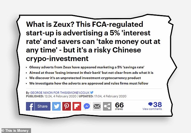 In February 2020 we reported on a Chinese cryptocurrency firm which had dressed itself up as a best buy savings account