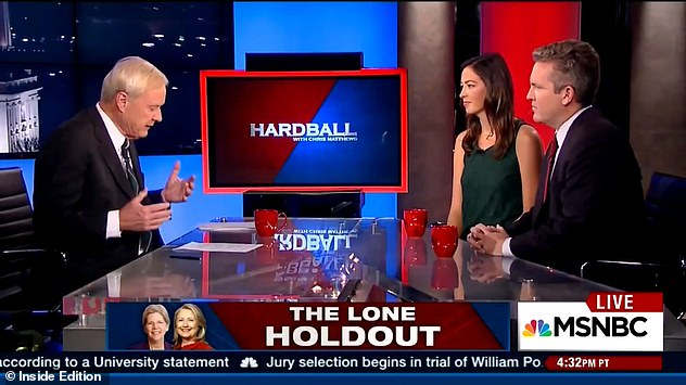 Matthews interviewing journalist Laura Basset on Hardball. She said that before she went on the show, he told her: 'Why haven't I fallen in love with you yet?' then told the make-up artist: 'Keep putting makeup on her, I'll fall in love with her.'