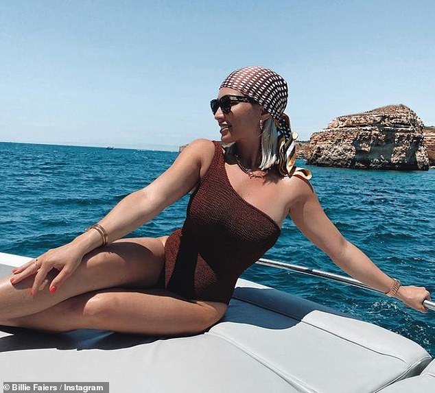 Picture-perfect: Just days prior on Wednesday, Billie once again showed off her toned curves as she posed in a one-piece swimsuit while on a yacht