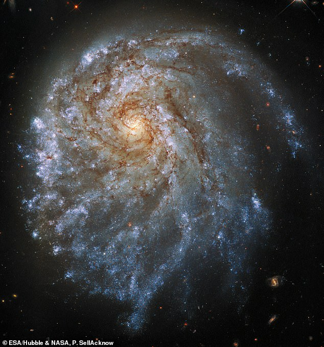 This image from the Hubble Space Telescope shows the trailing arms of NGC 2276, a spiral galaxy 120 million light-years away in the constellation of Cepheus