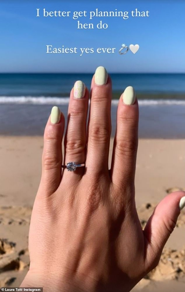 Wow:The paramedic, 26, admitted that she has always kept her relationship and partner off social media but wanted to share the happy news as she is 'over the moon'