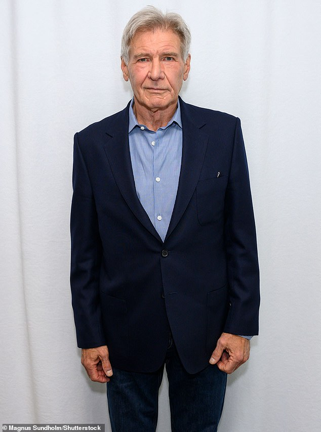 Back in action: Star Harrison Ford has already been seen near Pinewood Studios - a British film and television studio located in the village of Iver Heath in Buckinghamshire - as he prepares to reprise his role as the iconic relics hunter; seen in 2020
