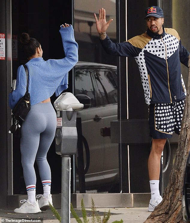 Fit!The High School Musical star, 32, put on a peachy display donning a pair of snug blue leggings which hugged her pert derriere