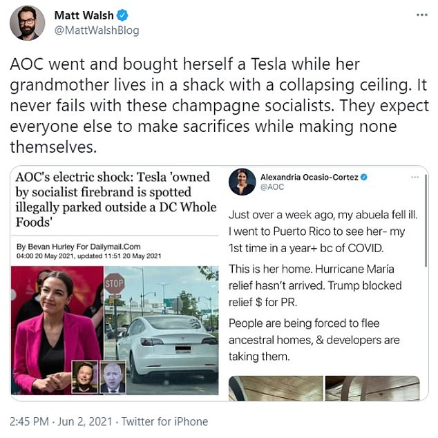 Conservative columnist Matt Walsh excoriated AOC for choosing to spend money on a new Tesla instead of sending part of her $174,000 salary to her grandma in Puerto Rico