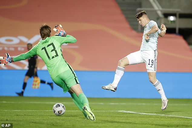Kevin Nesbit came off the bench to put the Scots ahead after finishing an Andy Robertson ball