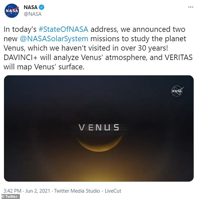 The missions, DAVINCI+ and VERITAS, will analyze the planet's atmosphere and surface. Venus has been compared to 'Earth's evil twin' for its extreme surface temperature