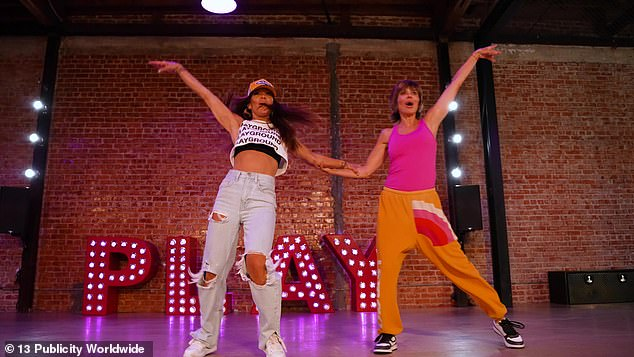 Hitting her mark: Lisa Rinna was back in the studio for another round of steps as she recreated The Routine from the iconic show Friends with Pussycat Dolls creator Robin Antin