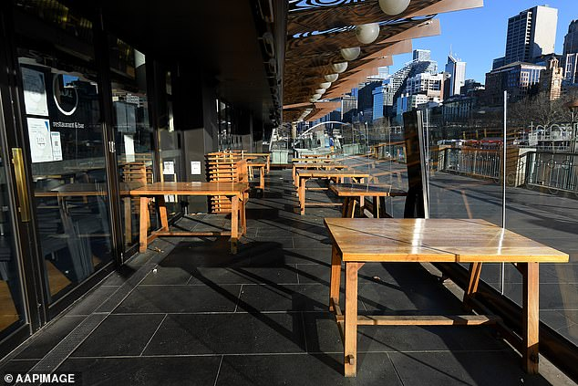 Following that announcement, Mr Frydenberg said the federal government was considering a series of policies to compensate Victorians who are being forced to stay at home. Pictured is an empty cafe near the Yarra River