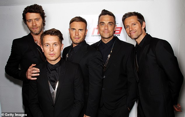 Together: Take That has been operating with three stars, Gary, 50, Mark Owen, 48, and Howard Donald, 50, since 2014 after Robbie and Jason Orange, 50, left (pictured in 2011)
