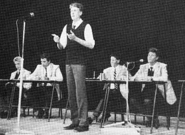 Christian Porter (pictured during a debate when he was a schoolboy) said the alleged rape 'just didn't happen'