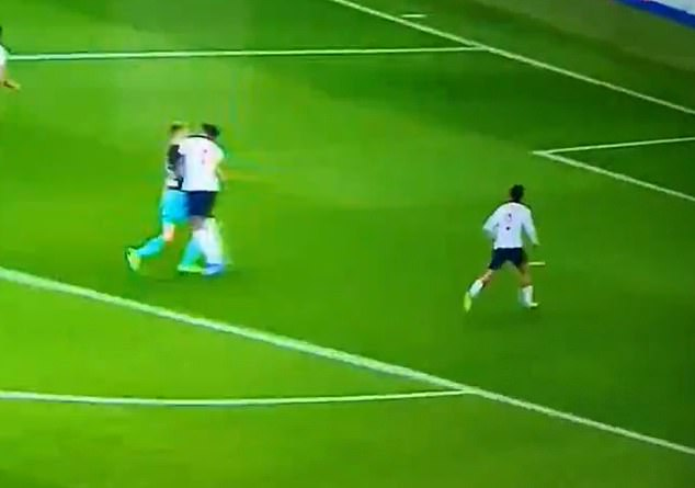Stopping a run fromSasa Kalajdzic, Tyrone Mings cynically blocked the striker with a forearm