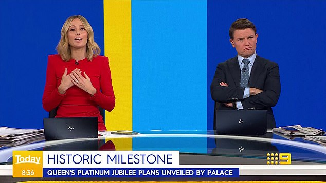'We love the Queen on the Today show': His obvious cynicism about the royals prompted co-host Allison to reassure viewers his views didn't reflect those of the Today show or Channel 9