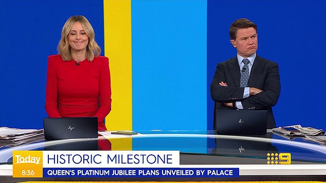 Drama queen!The Today show's Alex Cullen (right) showed his republican colours on Thursday as he scowled through a report about the Queen's Platinum Jubilee. Left: Allison Langdon