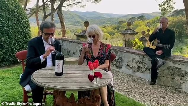 Beautiful: Sting and Trudie Styler, 67, proved that good wine keeps the spark alive as they enjoyed a romantic evening in their Tuscan countryside vineyard on Wednesday