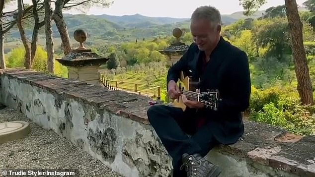 Fun: Posting the stunning video to Instagram Trudie quipped: 'La vita meraviglioso... Picked up this busker on the side of the road. Quite good, no? #WineWednesday'
