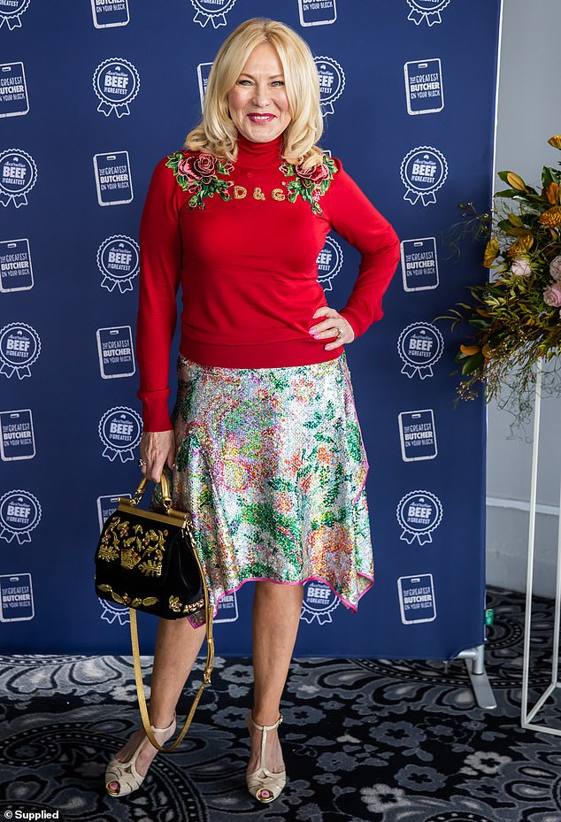 Moving forward: Kerri-Anne Kennerley smiled as she bravely made her first public appearance at a Sydney event on Tuesday, following her late mother's passing last week, at the age of 99. She smiled for a photo at the Meat and Livestock Australia event at Sydney's Pier One hotel