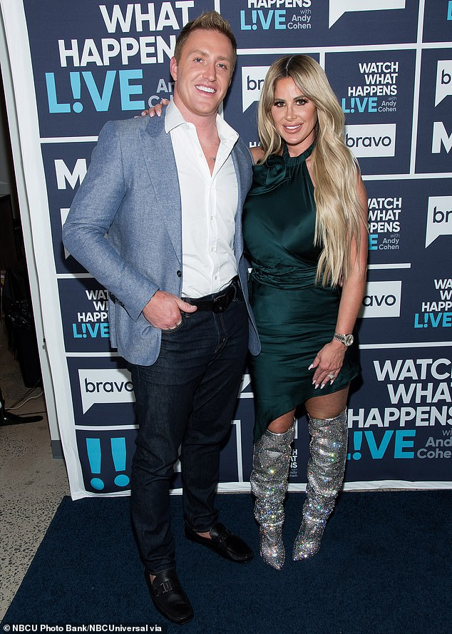 Happy couple: After dissolving her first marriage, the former Real Housewife dated around before becoming involved with and later marrying Kroy Biermann; the couple is pictured in 2017