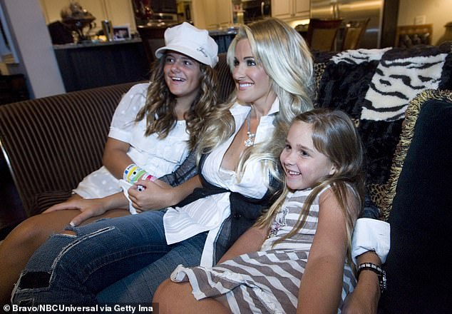 Happy to be a mom: During an appearance on Watch What Happens Live With Andy Cohen, Zolciak expressed that she was 'very proud of all my children'; she is seen with Brielle and Ariana in 2008
