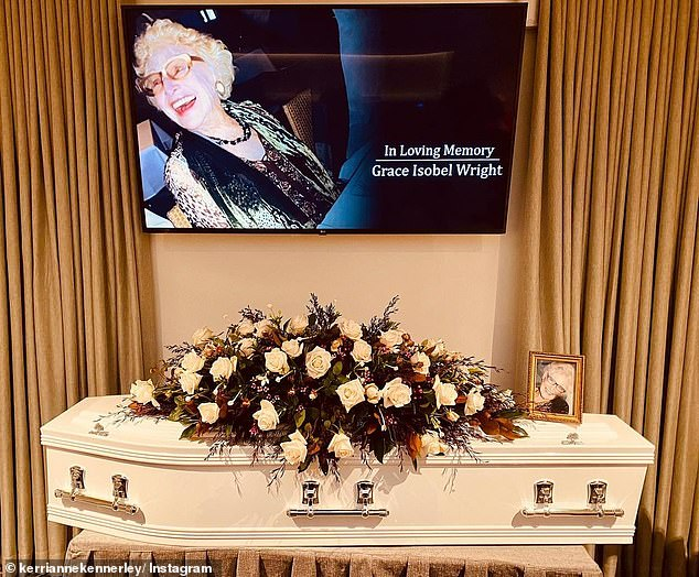 Emotional farewell: This event was Kerri-Anne's first public appearance since the funeral of her late mother, Grace, last week. Kerri-Anne shared a photo of her mother's coffin on Instagram on Saturday