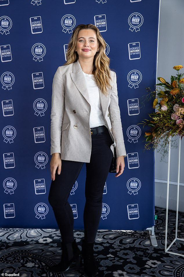 Sophisticated: The event was also attended by model Tahlia Giumelli, who looked chic and polished in a neutral toned blazer with black skinny jeans and boots.
