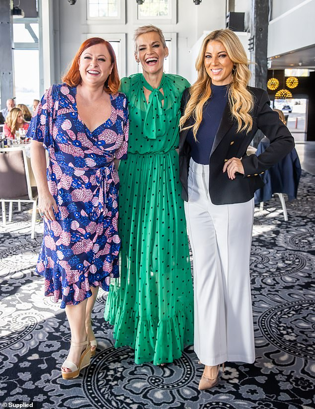 Gal pals: Also at the event was TV presenter and social commentator Shelly Horton and entertainment reporter Jo Casamento, who smiled for a photo with Jessica