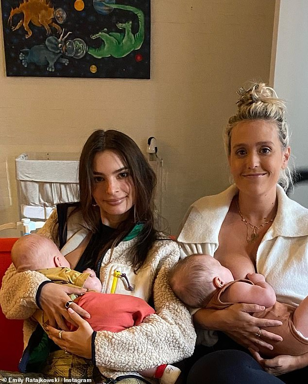 Mom duty:Most recently, Emily shared a photo of her breastfeeding the little one alongside her close pal Caitlin King