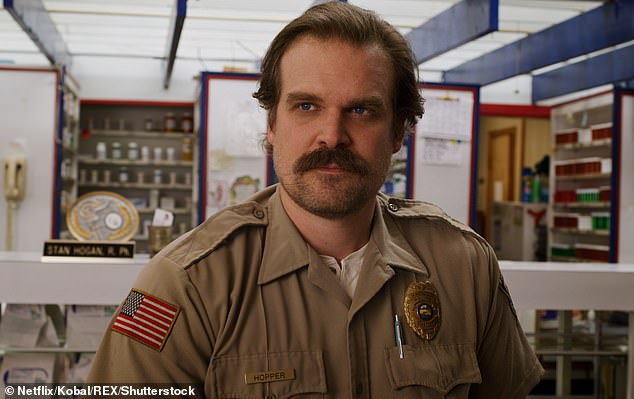 Fan favorite: Meanwhile, Harbour will return as Sheriff Jim Hopper for a fourth season of Netflix's Stranger Things. He told Kimmel that filming will likely be completed in August