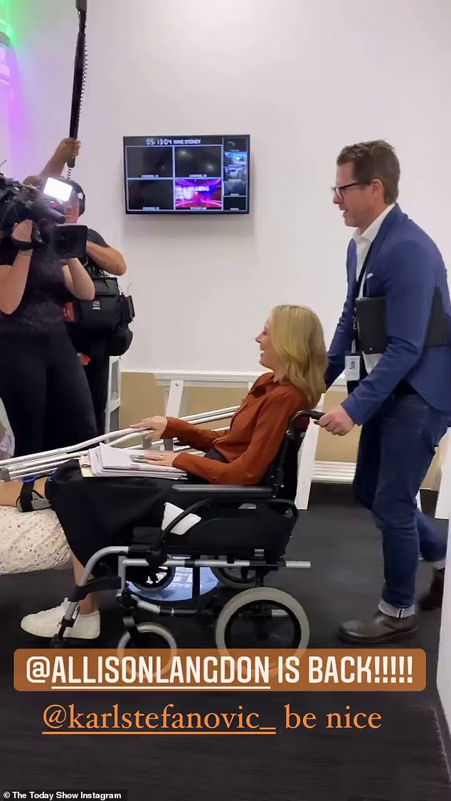 She's a trooper: The TV presenter made her return to the Today show in March, sporting a large brace over her knee and using a wheelchair and crutches to get around