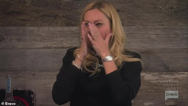 Colorful disagreement:Sutton Stracke cried after claiming to Crystal Kung Minkoff that she doesn't 'see color' on Wednesday's episode of The Real Housewives Of Beverly Hills