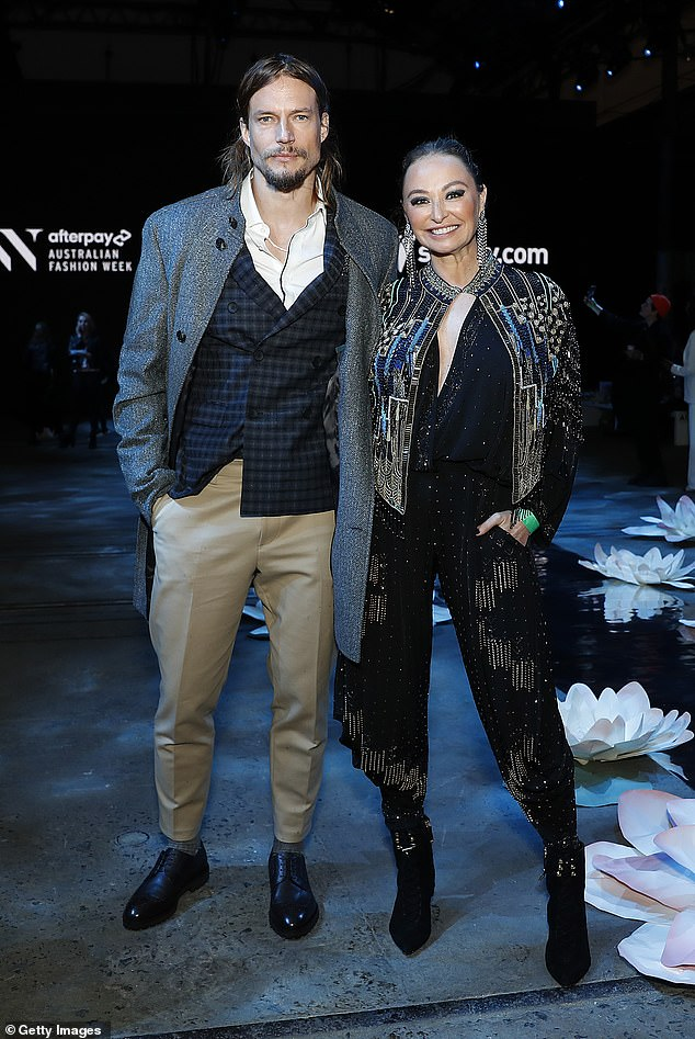 Famous friends: Inside the runway show for Indigenous Fashion Projects, she posed for a photo with fellow Celebrity Apprentice star David Genat