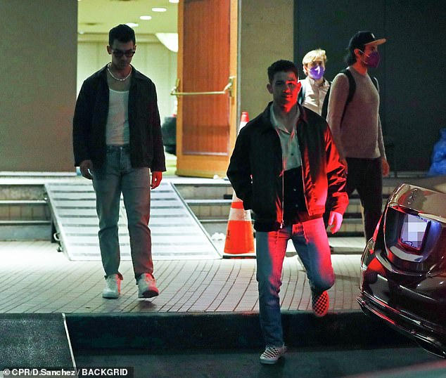 Project: The Jonas Brothers were back at work as they appeared to film a new project in downtown Los Angeles on Wednesday