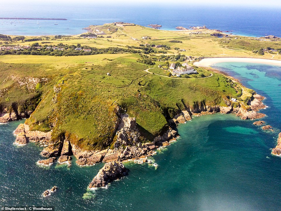 A stunning image of the island ofAlderney, which measures just 3.5 by 1.5 miles