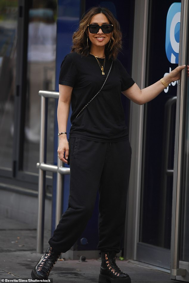 Standing out: It came as Myleene cut a stylish figure in an all-black ensemble to head to work at Smooth Radio on Thursday