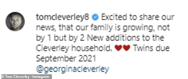So cute:Footballer Tom also took to Instagram as he reposted the same image and penned: 'Excited to share our news, that our family is growing, not by 1 but by 2 New additions to the Cleverley household'