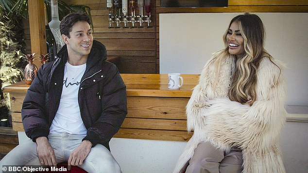 In an emotional scene, Joey opened up to his cousin Chloe Sims, 38, about his struggles to give his heart out to women and how he knows he needs to change (pictured together)