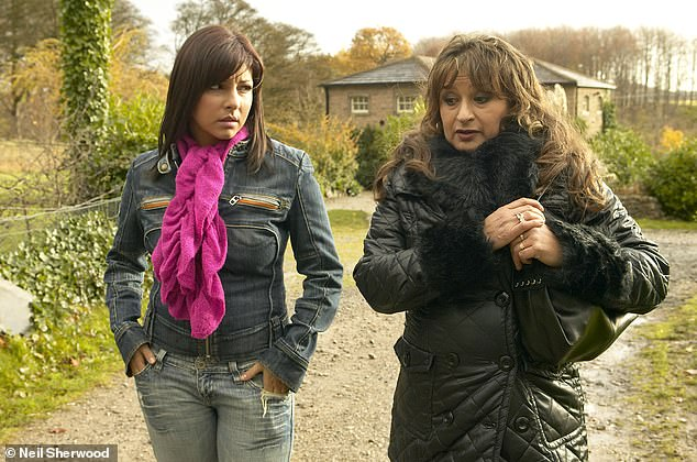 Soap star: She also appeared asJo Stiles on Emmerdale from 2005 to 2008 (pictured above with Ishia Bennison as her mother Jackie)