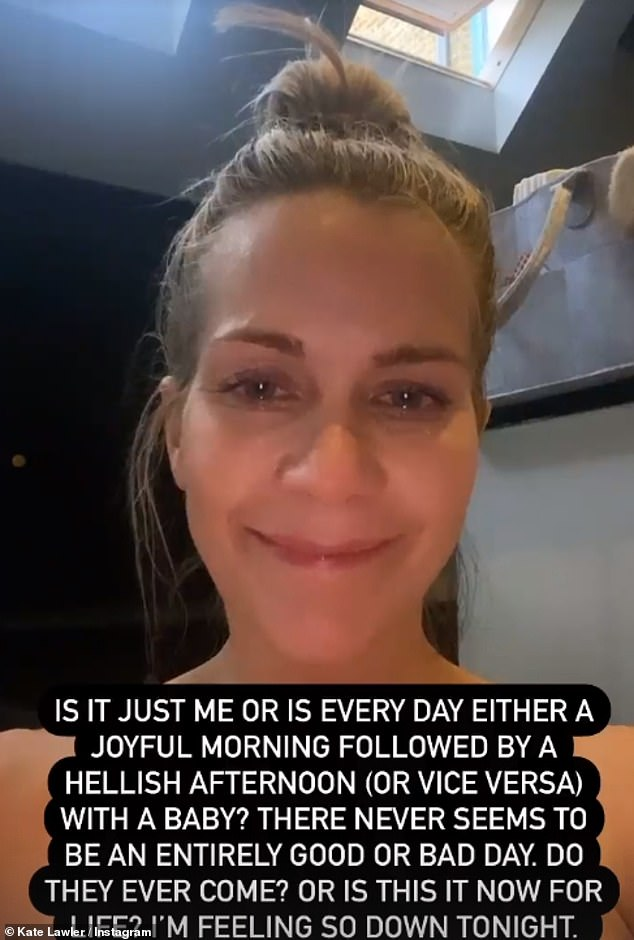 'I'm feeling so down tonight': In a candid Instagram video, Kate appeared make-up free with tears welling up in her eyes as she forced a smile and penned a revealing caption