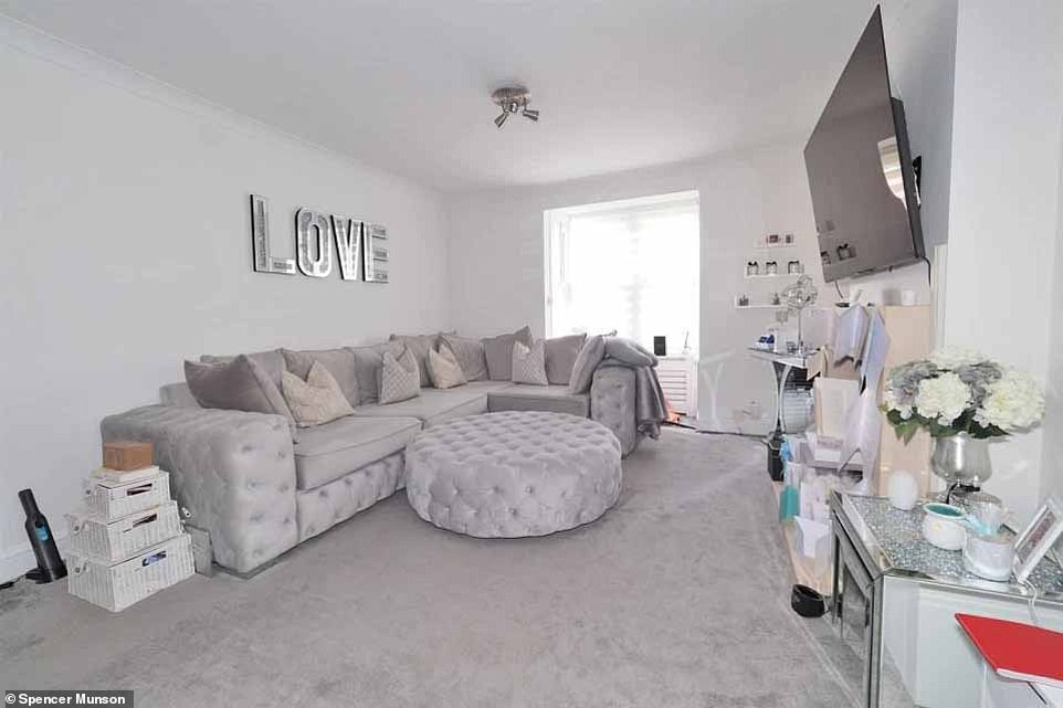 Moving on:Dani Dyer's sleek £2,150 a month apartment is back on the lettings market after she moved to a countryside pad with her son, Santiago, and partner Sammy Kimmence in March