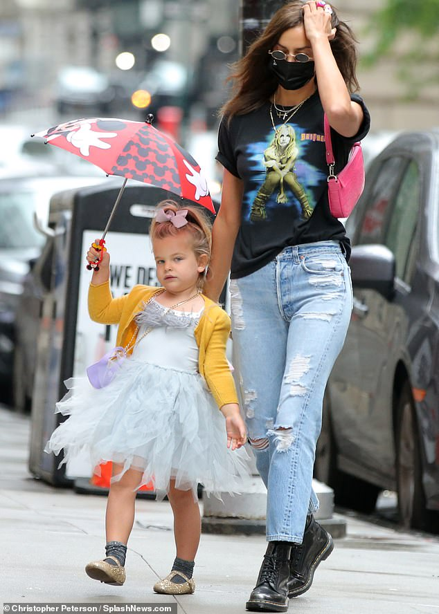 She is a proud mother of one: And this week in New York Irina Shayk doted over her four-year-old daughter Lea De Seine whom she shares with her ex Bradley Cooper