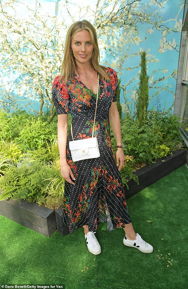 Mum-to-be:Frida Andersson-Lourie looked gorgeous in a low-cut patterned dress and made sure to keep the sunshine at bay behind a pair of oversized black sunglasses