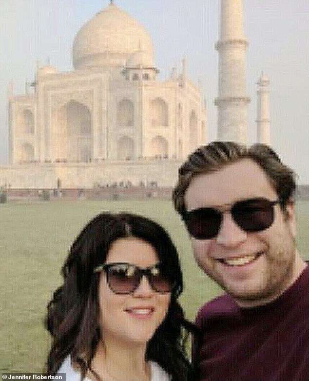 Gerald Cotten, who was the 30-year-old founder of cryptocurrency trading platform Quadriga CX, died while he was on his honeymoon in India in 2018. He is pictured with his wife JenniferRobertson in India