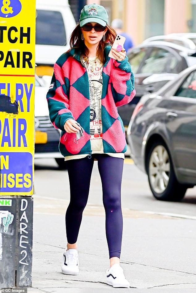 Casual cute: Emily Ratajkowski looked low key while walking around New York on Thursday