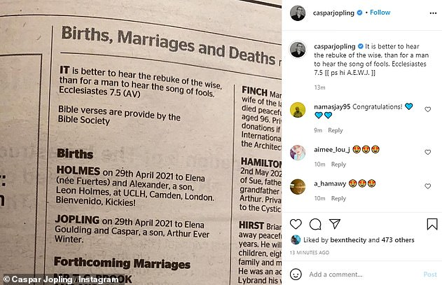 Bible wise:The daily announcement section opens with a bible quote, which Caspar, 29, quoted in an Instagram post penning: 'It is better to hear the rebuke of the wise, than for a man to hear the song of fools. Ecclesiastes 7.5'