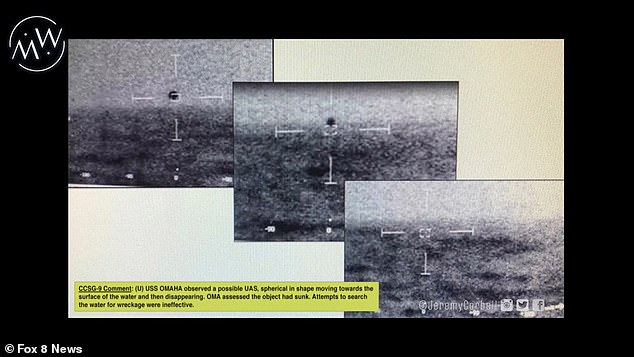 Still images from a newly released video show a spherical object diving into the Pacific Ocean off the coast of California. Investigative journalist Jeremy Corbell says the video shows 'FLIR [forward looking infrared] data' that is complimented by the radar footage