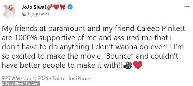 She won: On Tuesday, JoJo tweeted that she's been assured by her 'friends at Paramount' that 'I don't have to do anything I don't wanna do ever!!!'