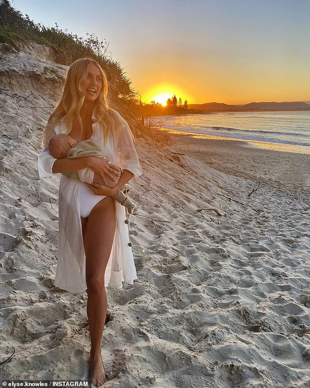 Motherhood: Elyse and her fiancé Josh Barker, who won Channel Nine's The Block in 2017, welcomed their boy Sunny on February 25