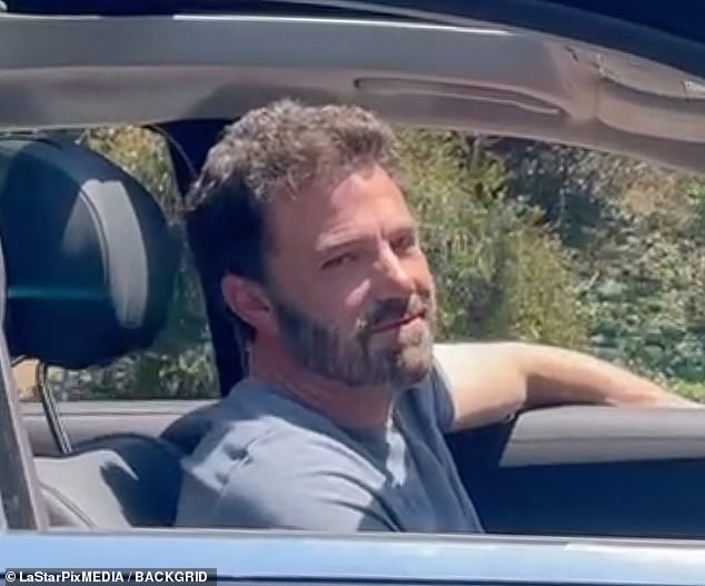 The sighting comes around the same time that Jennifer recently displayed open PDA with her on-again beau Ben Affleck: Ben is seen here on Wednesday, smiling as he leaves her LA home