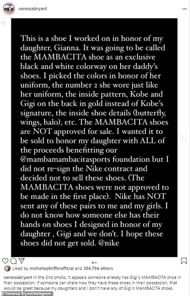 Bryant wrote that morning:'The MAMBACITA shoes are NOT approved for sale. I wanted it to be sold in honor of my daughter with ALL of the proceeds benefitting our @mambamambacitasports foundation'