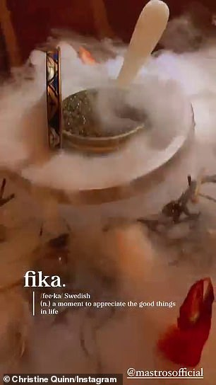 'Fika!'Later, Quinn - who boasts 1.7M Instagram followers - shared videos of her caviar on dry ice from Mastro's Steakhouse in Beverly Hills