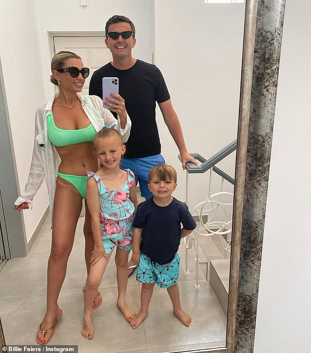One hot mama!Billie Faiers, 31, showed off her figure in a neon green bikini for a candid mirror selfie shared to Instagram on Friday